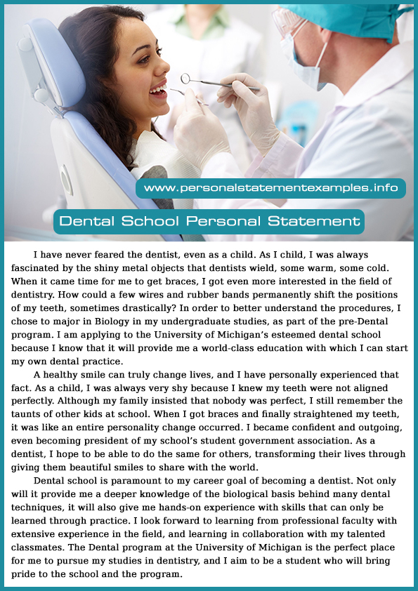 effective dental school personal statement examples