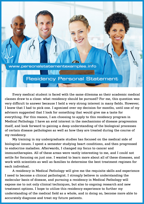 good personal statement residency examples