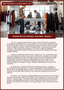 Fashion Design Personal Statement Example
