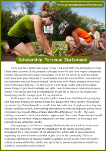 correct personal statement format for scholarship