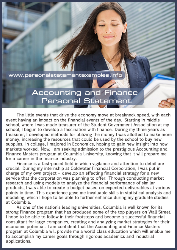 accounting and finance personal statement example
