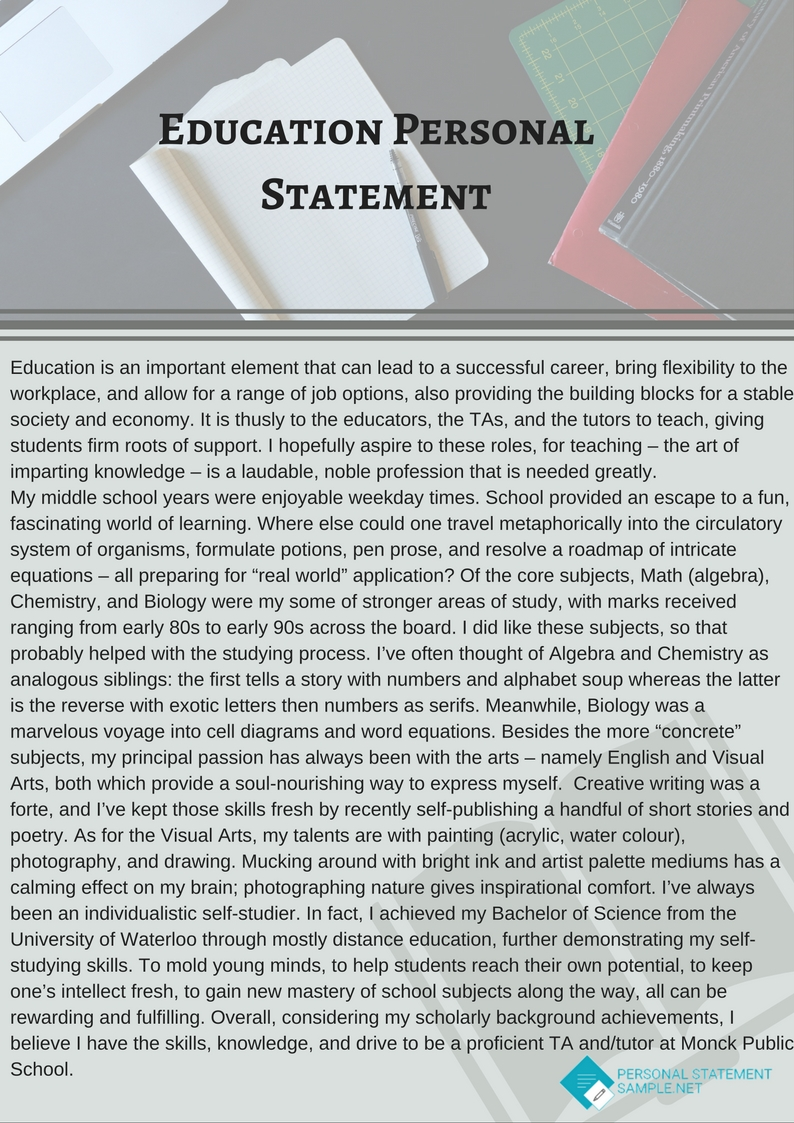 online education personal statement examples