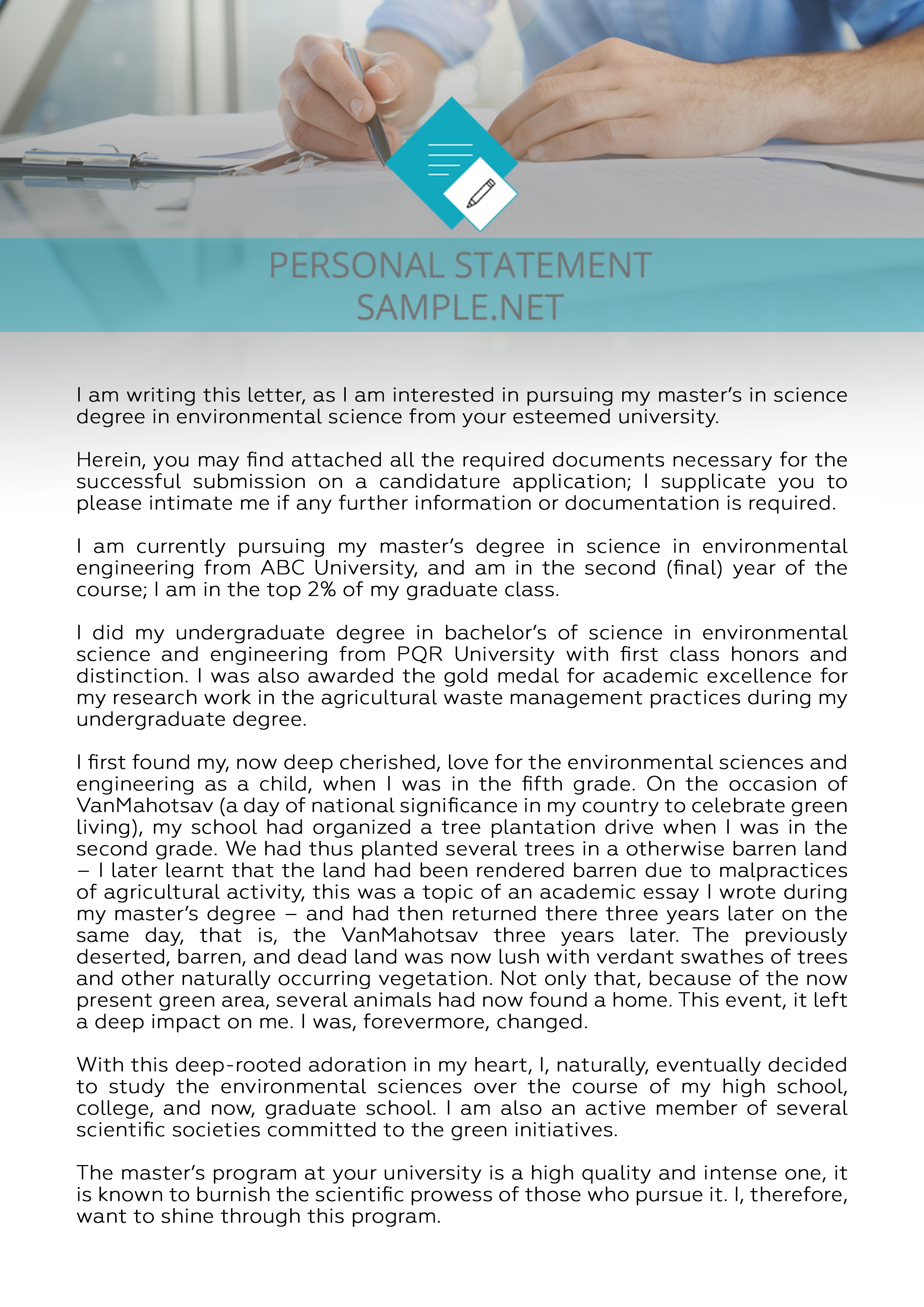 personal statement for environmental science sample