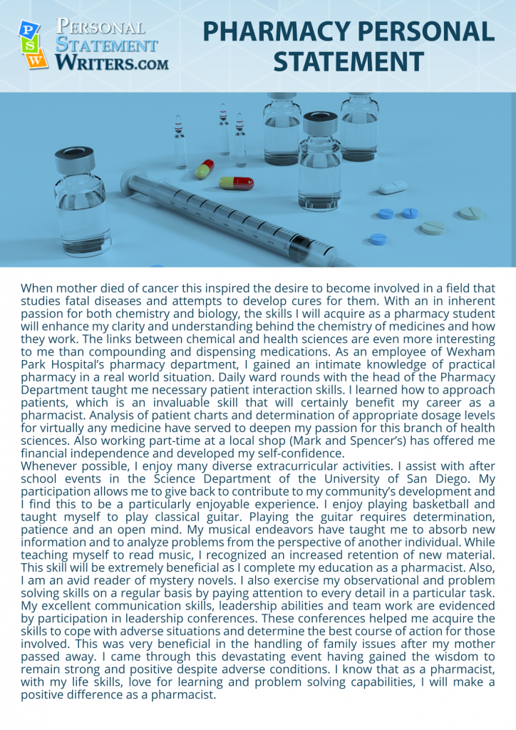 pharmacy personal statement sample